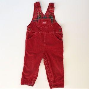 Vintage OshKosh Red Corduroy Overalls 2T USA